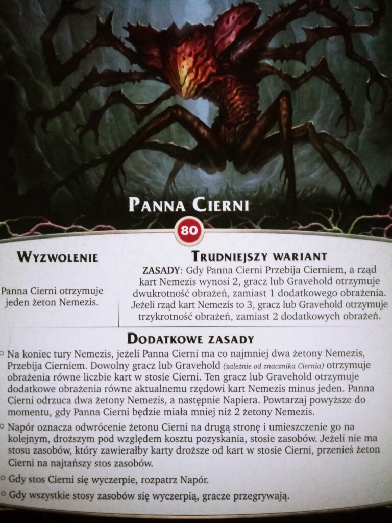 Panna Cierni - nemesis z dodatku Otchłań do gry Aeon's End